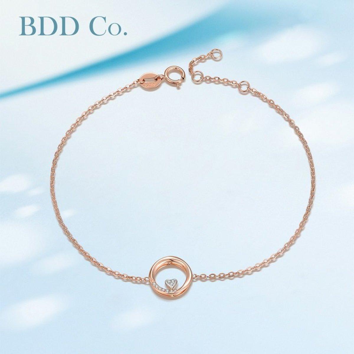 【BDD-Co.】18k玫瑰金 可愛心型鑽石手鏈
