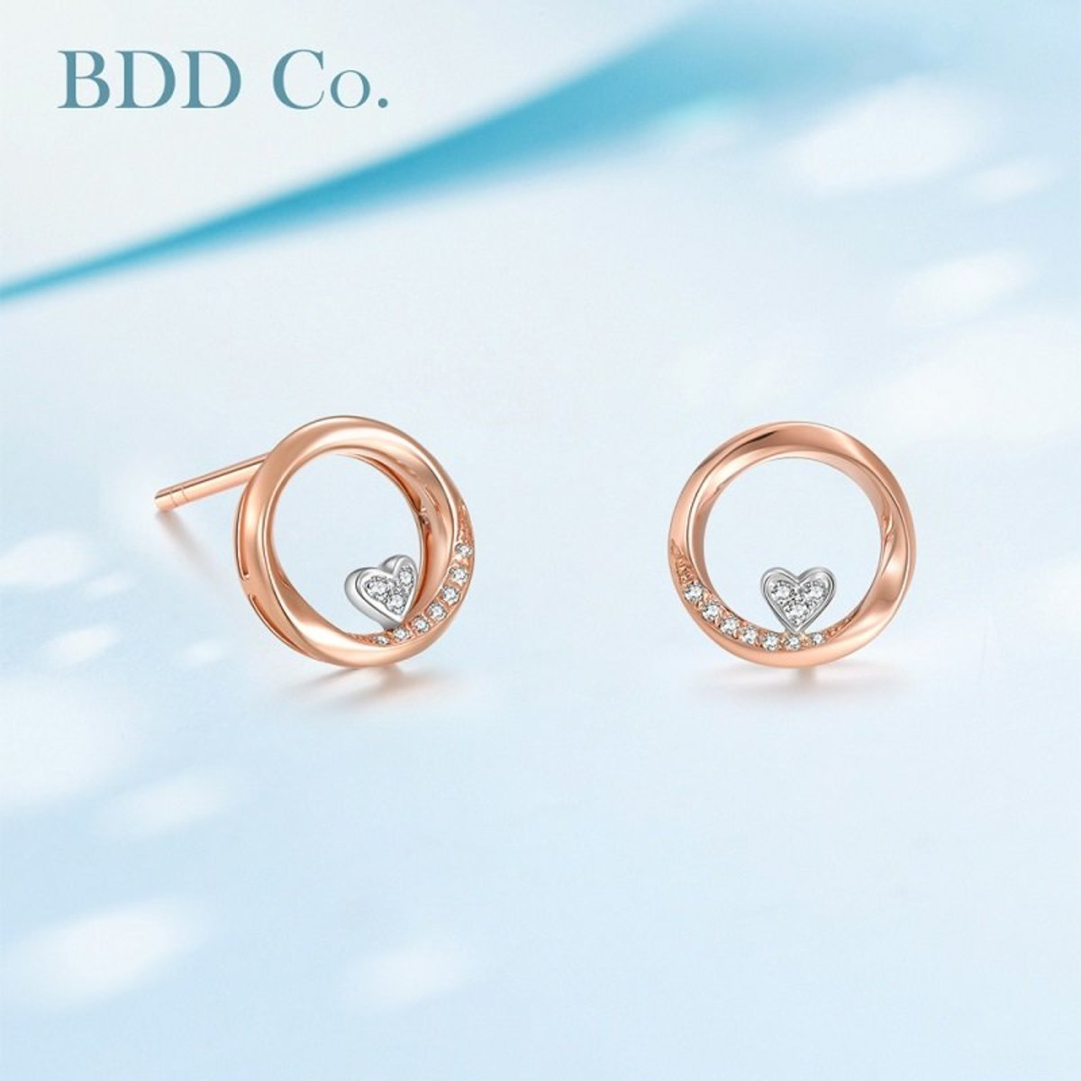 18k Rose Gold Heart Diamond Earrings