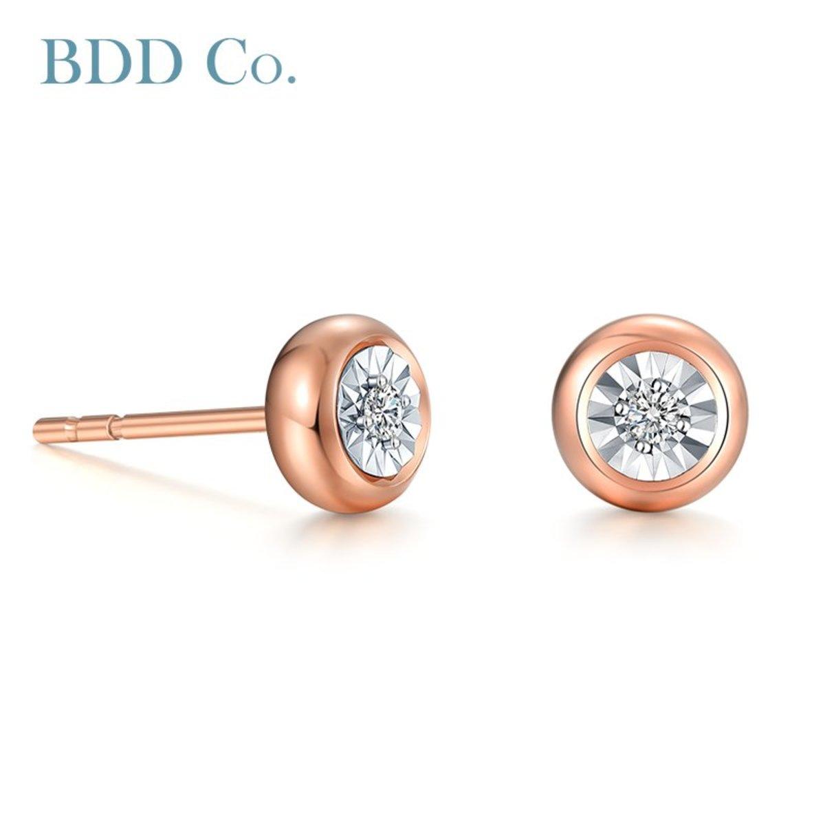 18k玫瑰金Au750 0.044克拉 泡泡款鑽石耳環