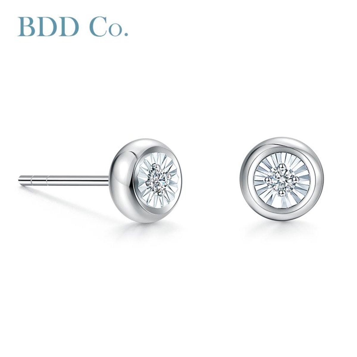 18k White Gold Diamond Bubble Women Stud Earrings (0.044 ct. tw.)