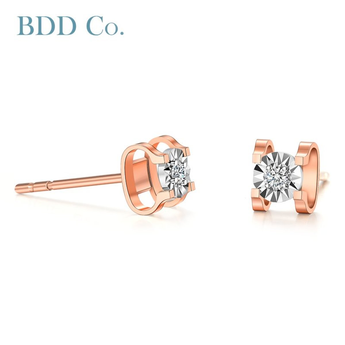 18k Rose Gold Diamond Bubble  Stud Earrings (0.044 ct. tw.)