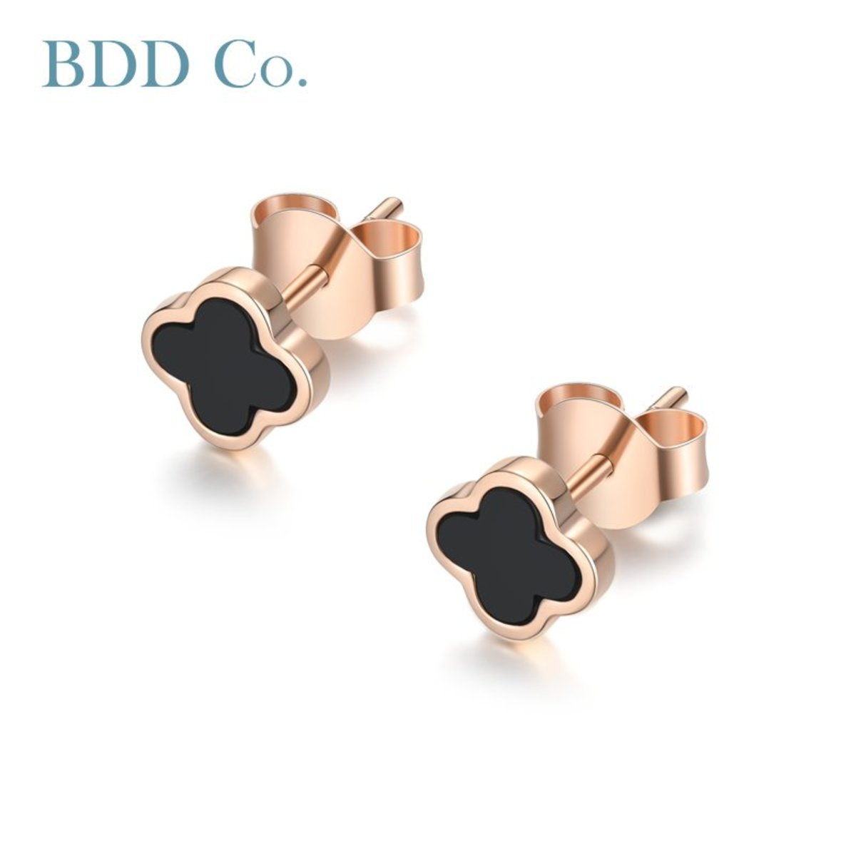 【BDD-Co.】18k玫瑰金Au750 四葉草黑瑪瑙玫瑰K金耳環