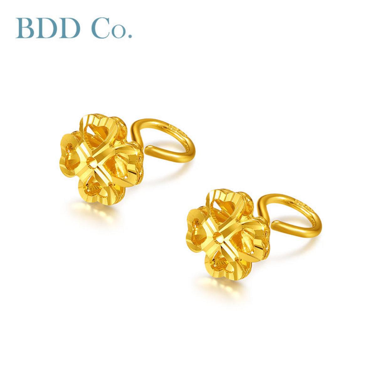 【BDD-Co.】黃金耳環 足金四葉草耳釘
