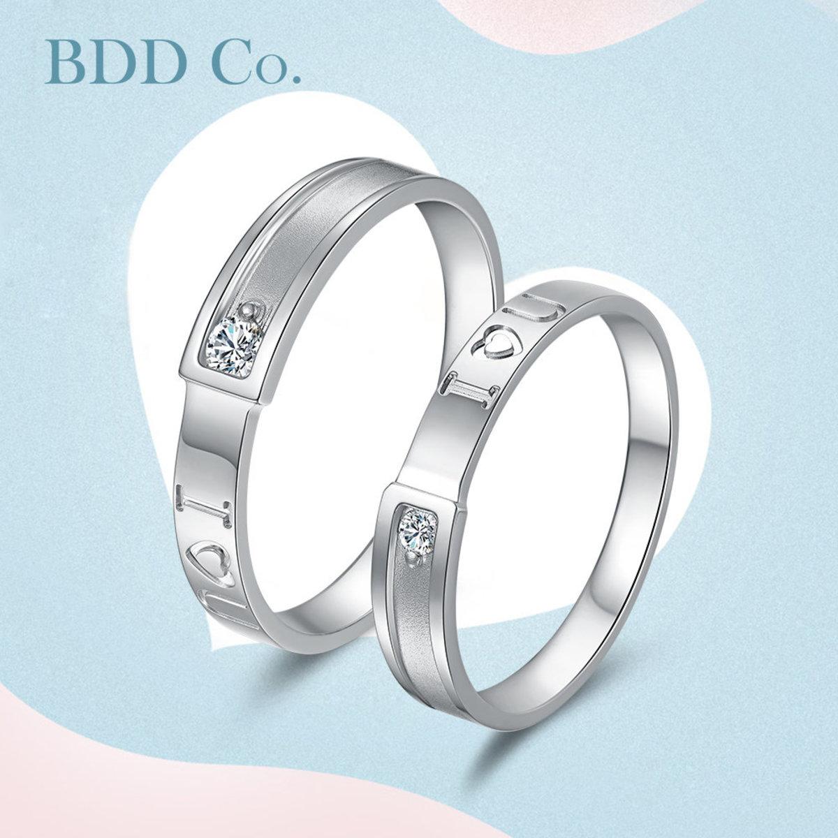 18K White Gold Couple Diamond Ring