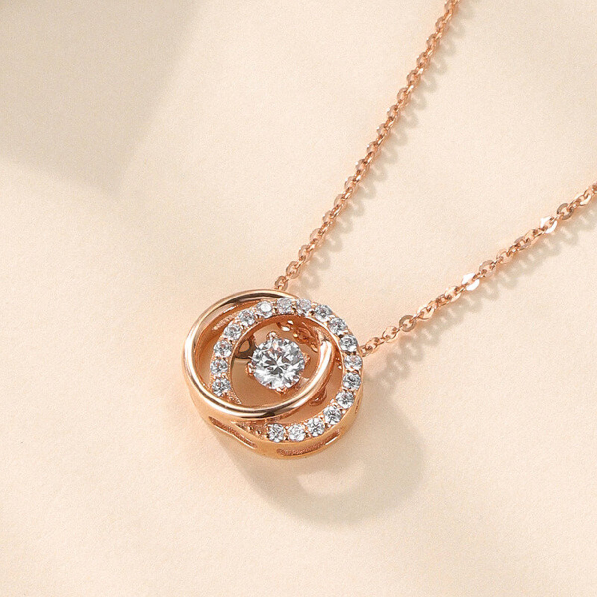 18k Rose Gold Double Cycle Diamond Necklace (0.075 ct. tw.)