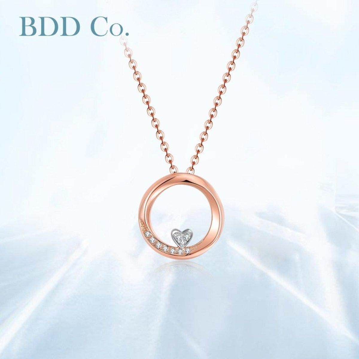 【BDD-Co.】18k玫瑰金 可愛心型鑽石項鏈