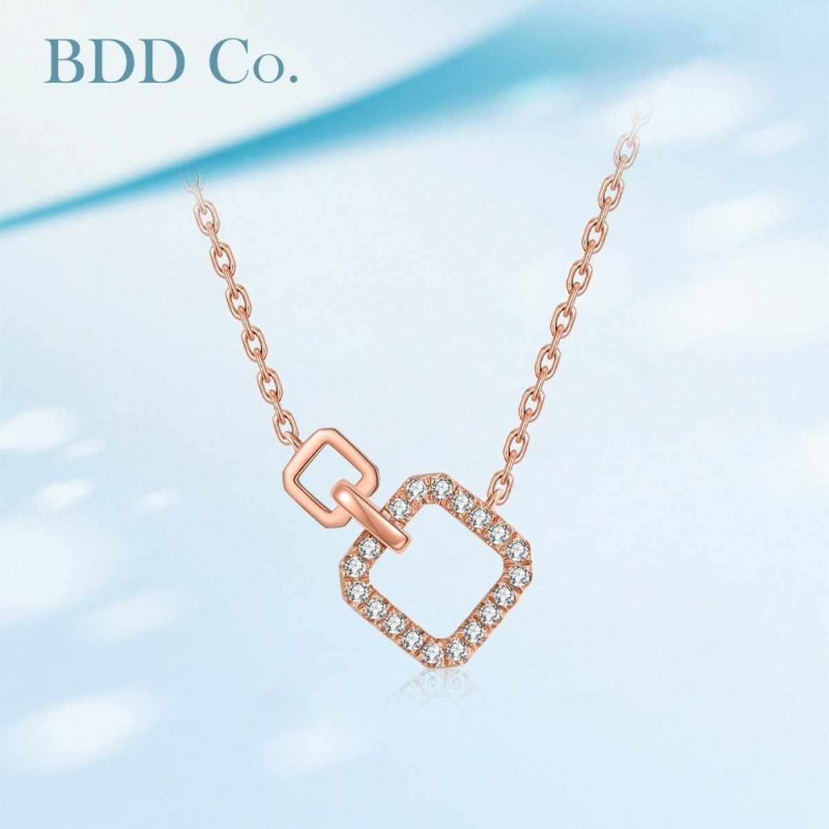 【BDD-Co.】18k玫瑰金 幾何極簡鑽石項鏈