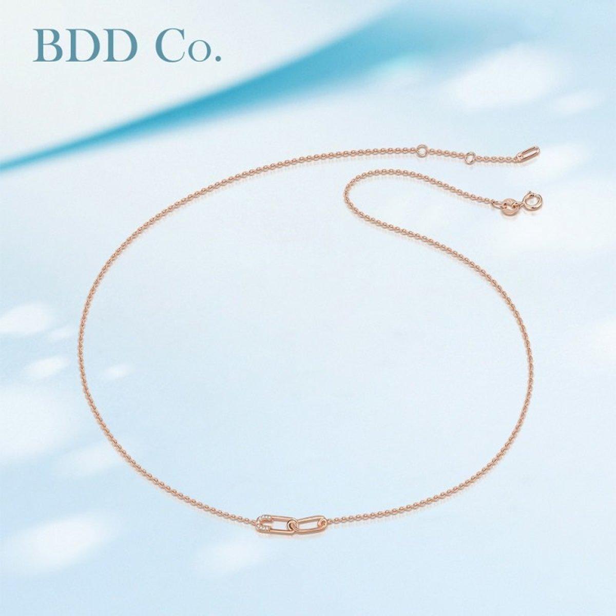 【BDD-Co.】18k玫瑰金 設計感別針鑽石項鏈