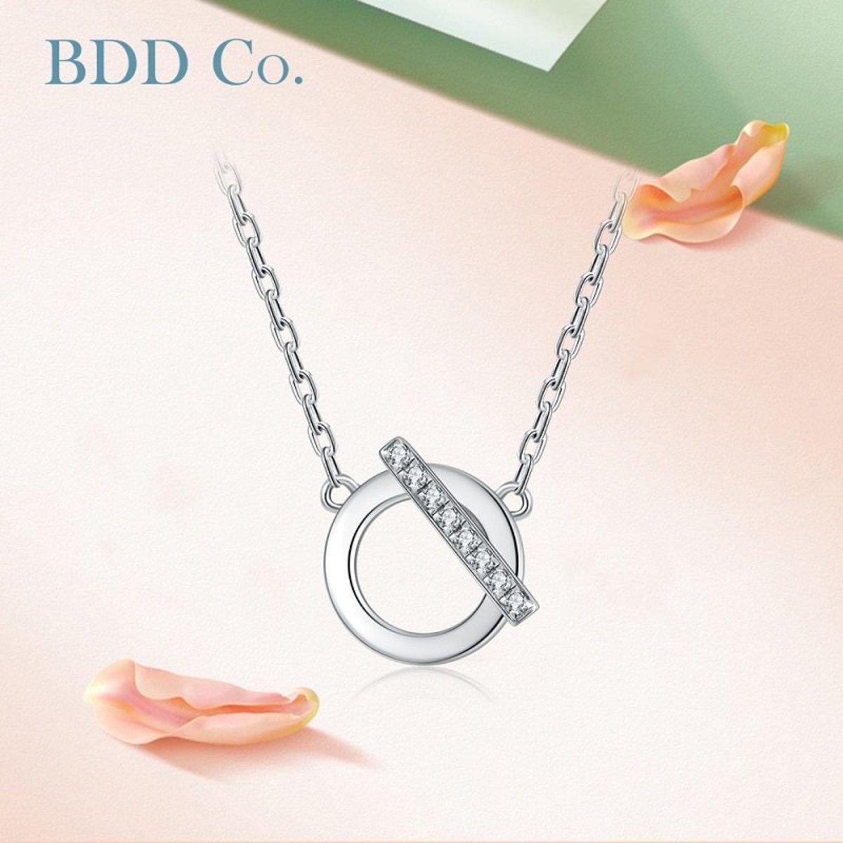 【BDD-Co.】18k白金 設計感幾何鑽石項鏈