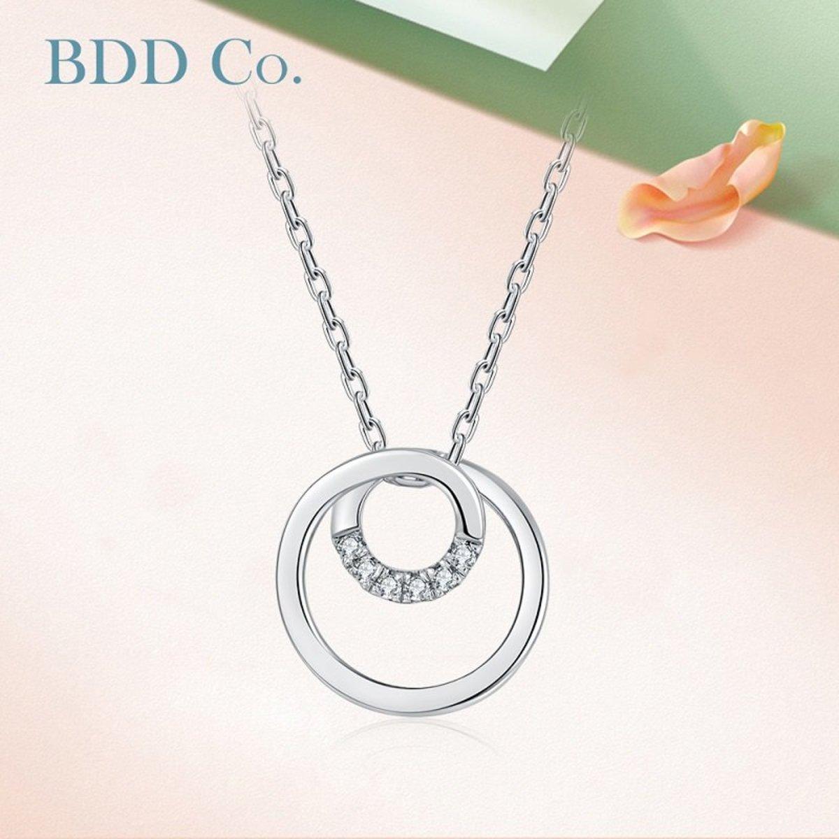 【BDD-Co.】18k白金 纏繞圓環鑽石項鏈