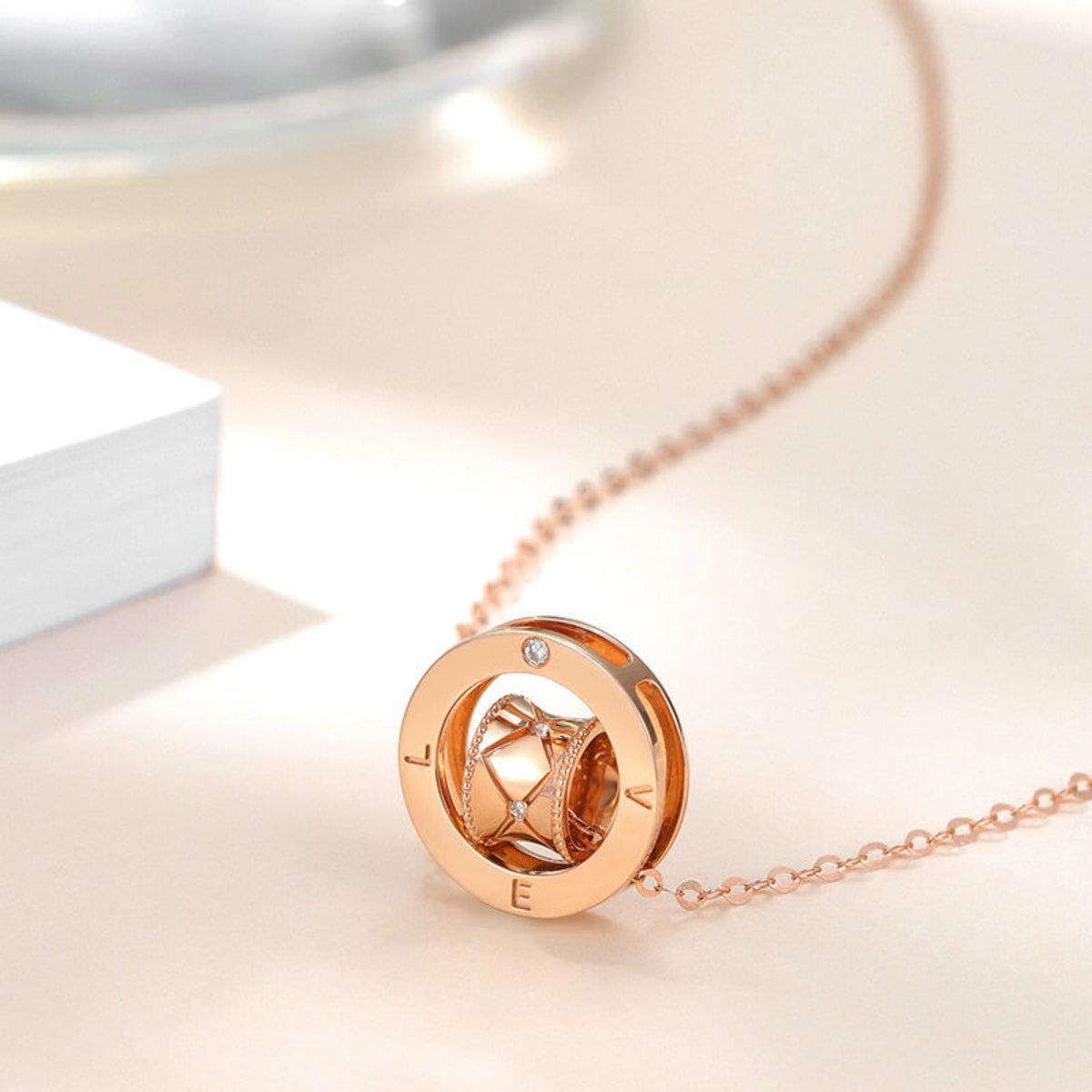 【BDD-Co.】18k玫瑰金 轉運珠鑽石項鏈