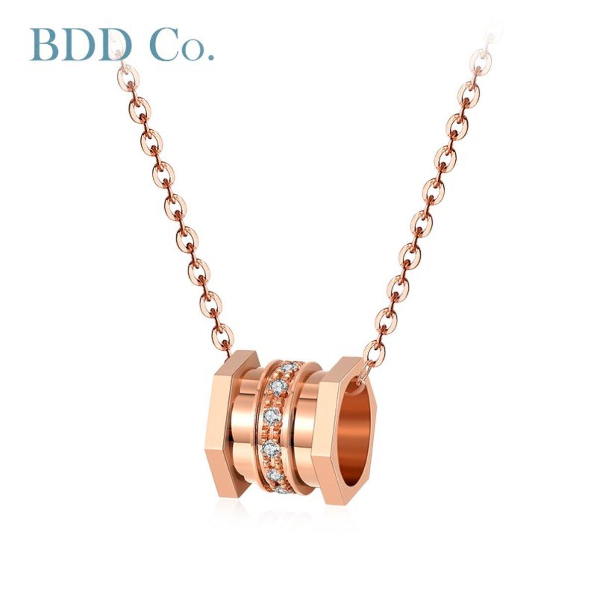 18k玫瑰金  小蠻腰鑽石項鏈 (0.036克拉 鑽石總重量 )