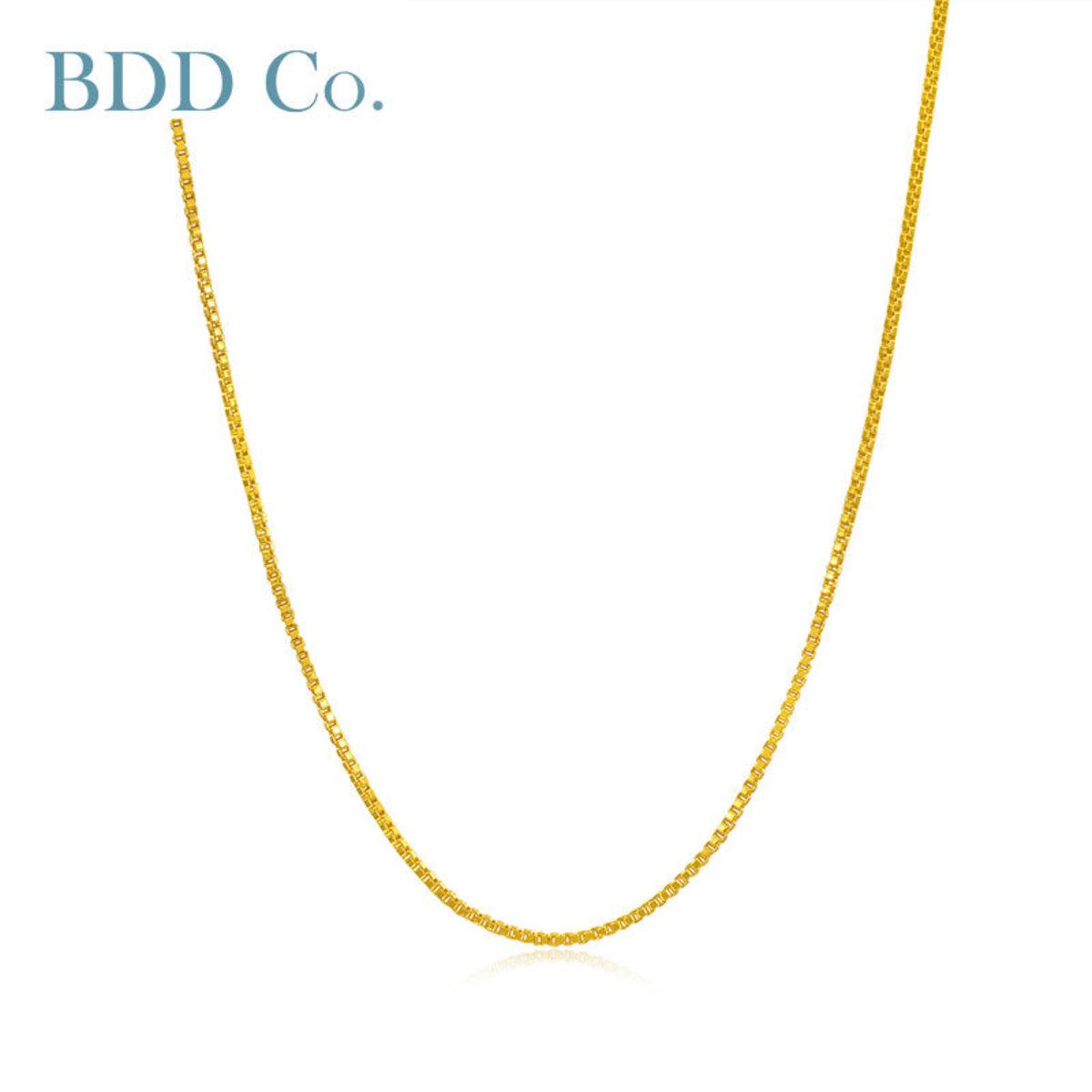 【BDD-Co.】黃金項鏈 足金素鏈 盒子鏈45cm