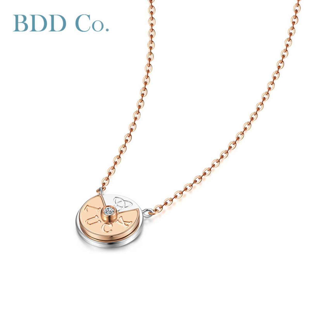 18k Rose Gold LUCK Necklace