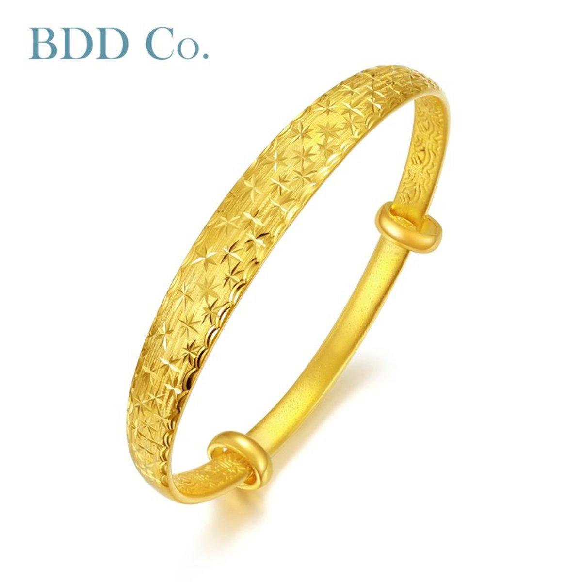 黃金手鐲 3D硬金滿天星足金手鐲
