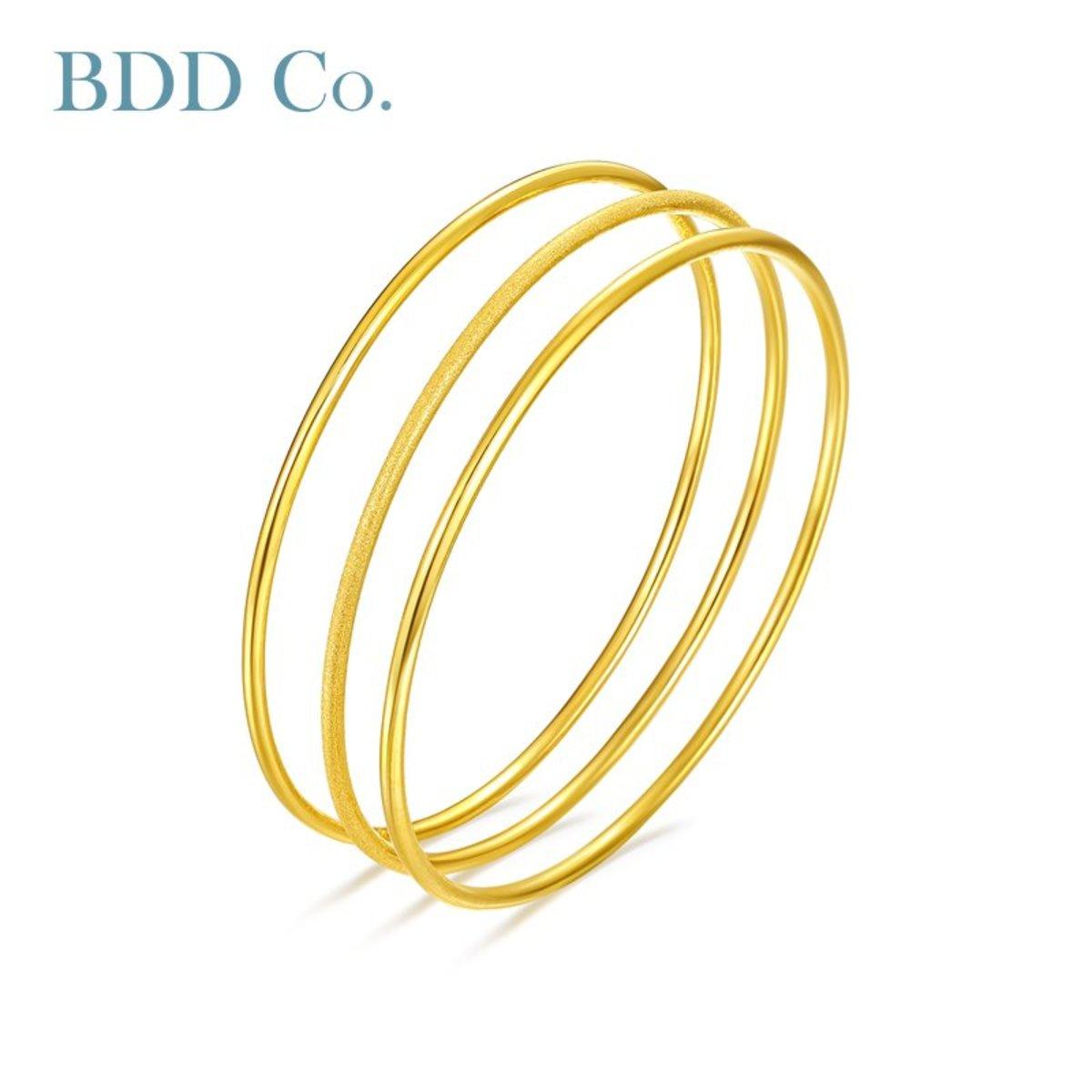 Au990 Gold Women Bangle Bracelet(3 OF ONE)
