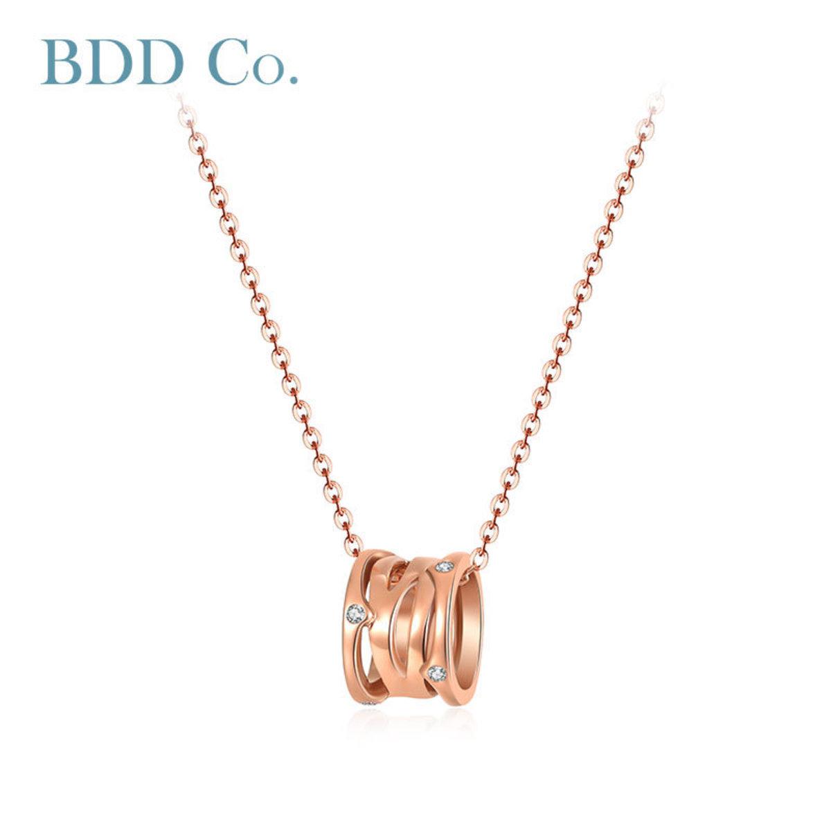 18k 玫瑰金小蠻腰鑽石吊墜(0.040 克拉總重量)