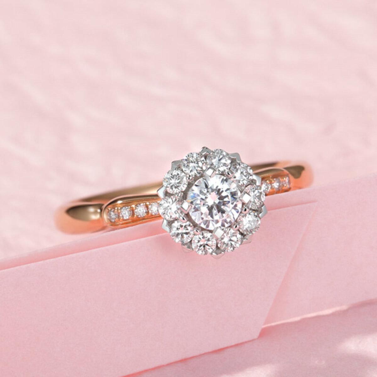 【BDD-Co.】18k玫瑰金 花團錦簇設計鑽石女戒