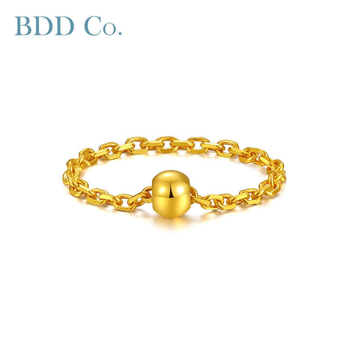 【BDD-Co.】黃金耳環 足金鏈條轉運珠戒指女戒