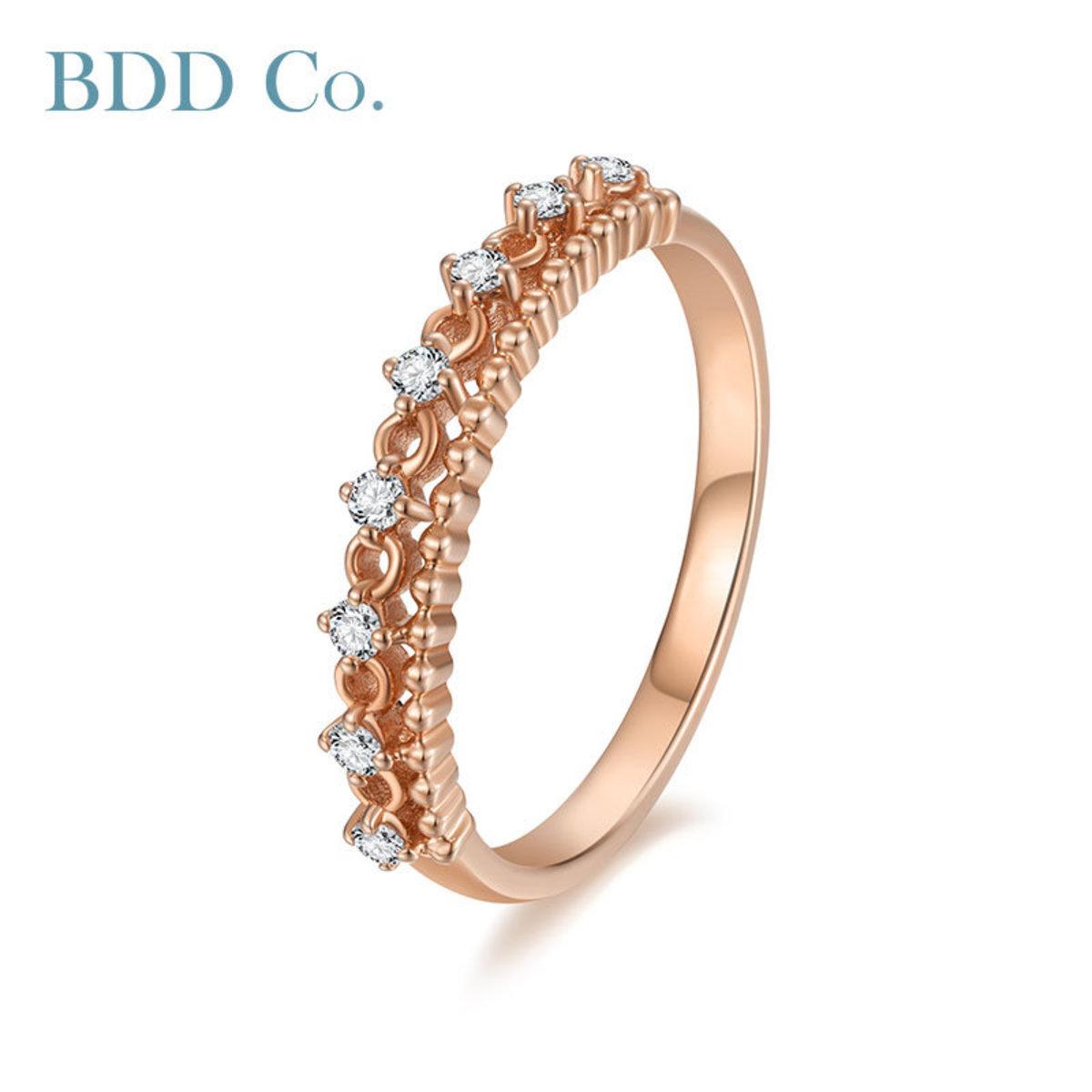 18K Rose Gold Classic Diamond Ring