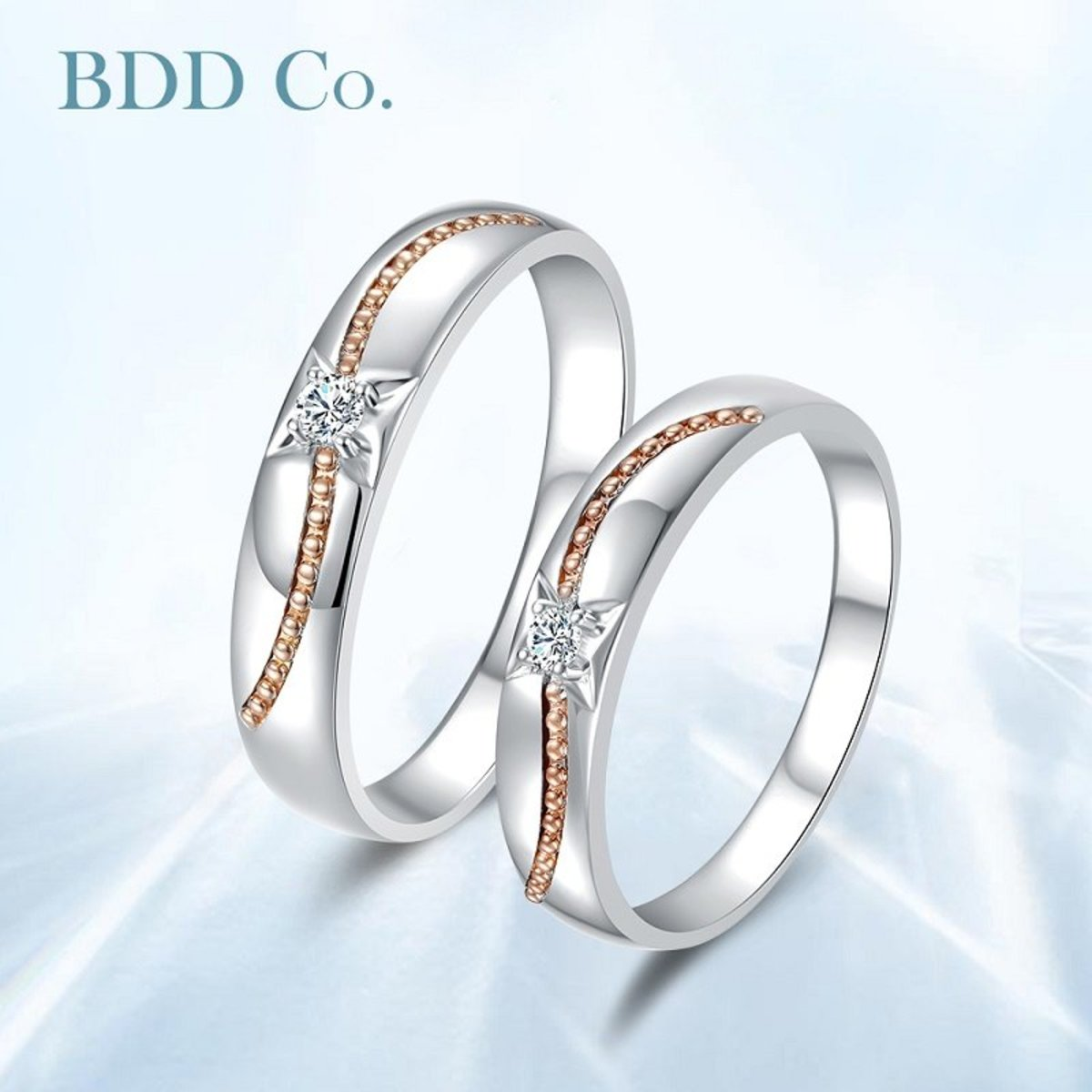 18K White Gold Couple Diamond Ring (W)