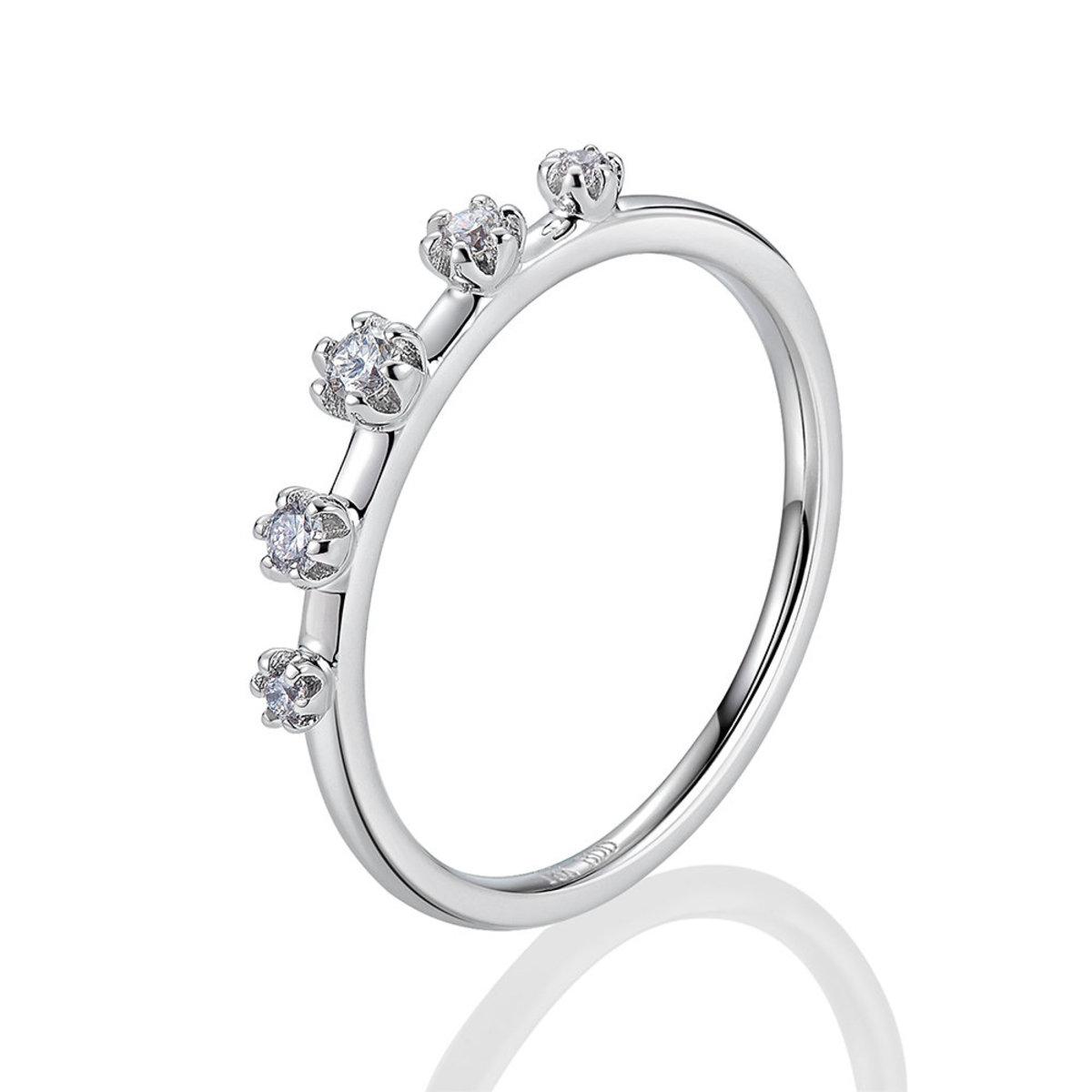 18K白金鑽石戒指(0.10克拉總重量)