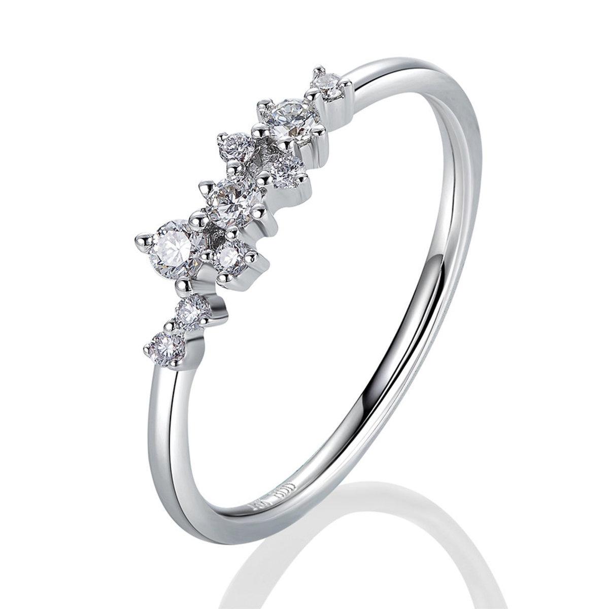 18K白金鑽石戒指(0.19克拉總重量)