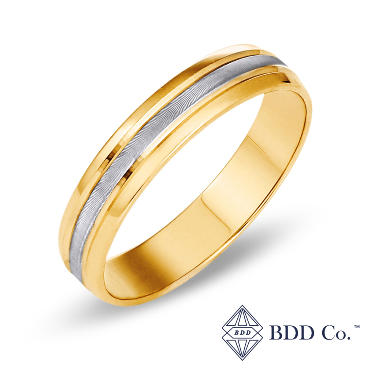 18k Yellow Gold with White Gold Engraving Pattern Wedding Ring (4mm)