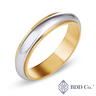 18k White Gold and Yellow Gold Arch Design Real Tones Wedding Ring (5mm)