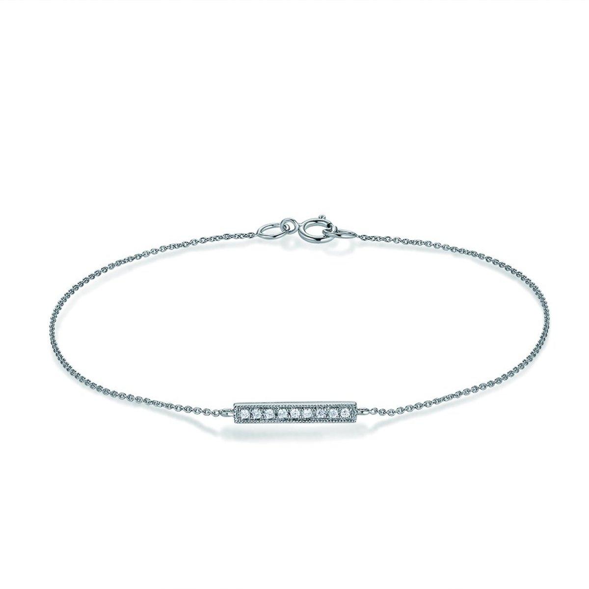 18K白金鑽石長條手鍊(0.04克拉總重量)(165mm)