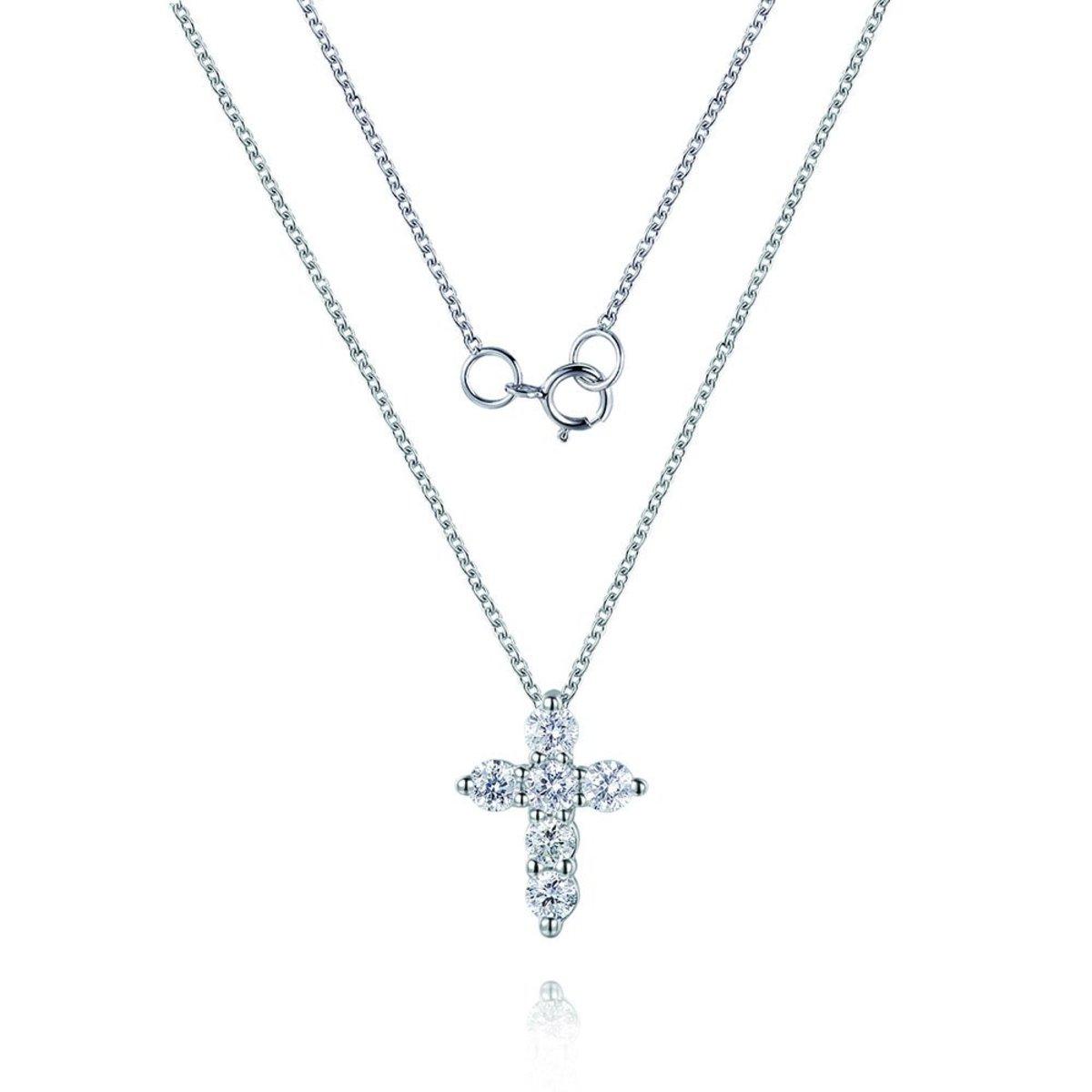 18K白金鑽石項鍊(0.13克拉總重量)