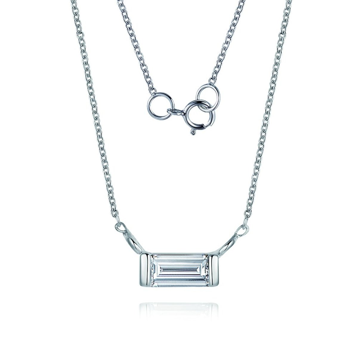 18K白金鑽石項鍊(0.1克拉總重量)
