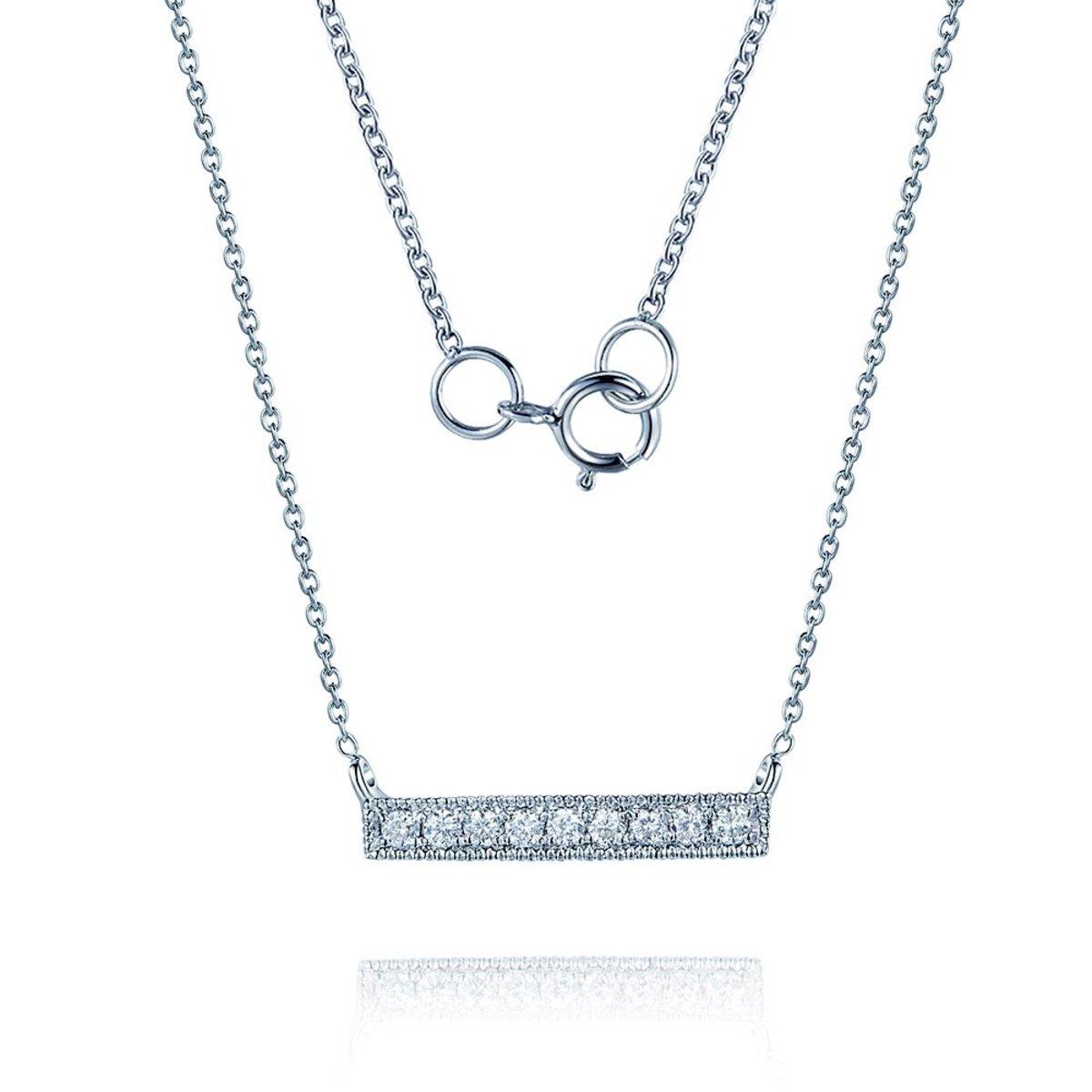18K White Gold Diamond Bar Necklace (0.07 ct. tw.)