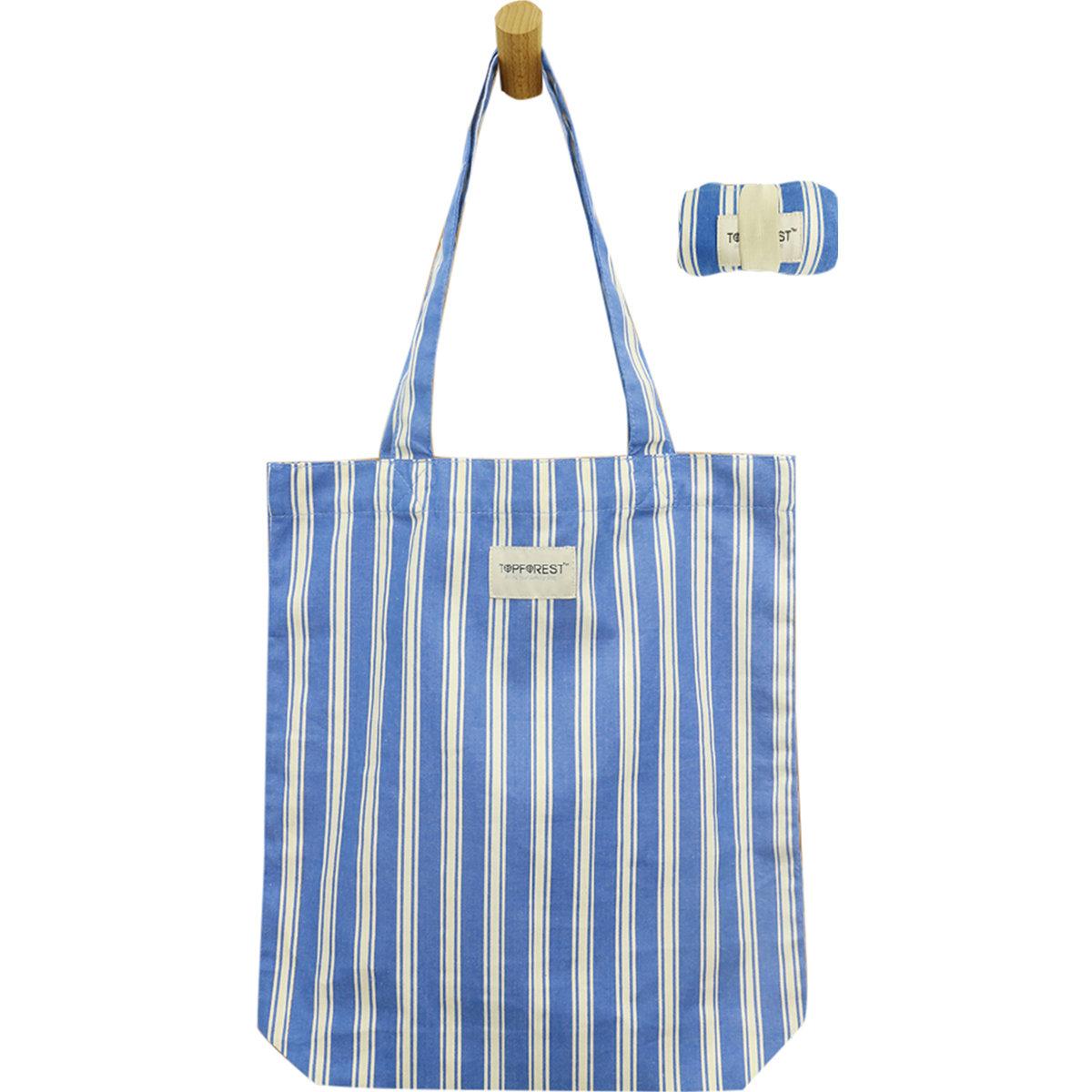 Stripe Cotton Foldable Shopping Bag Multipurpose A04017