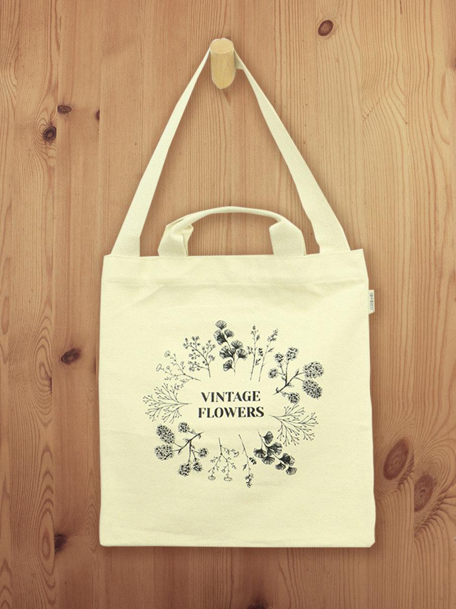 花朵圖案棉帆布手挽側揹兩用袋 B01017