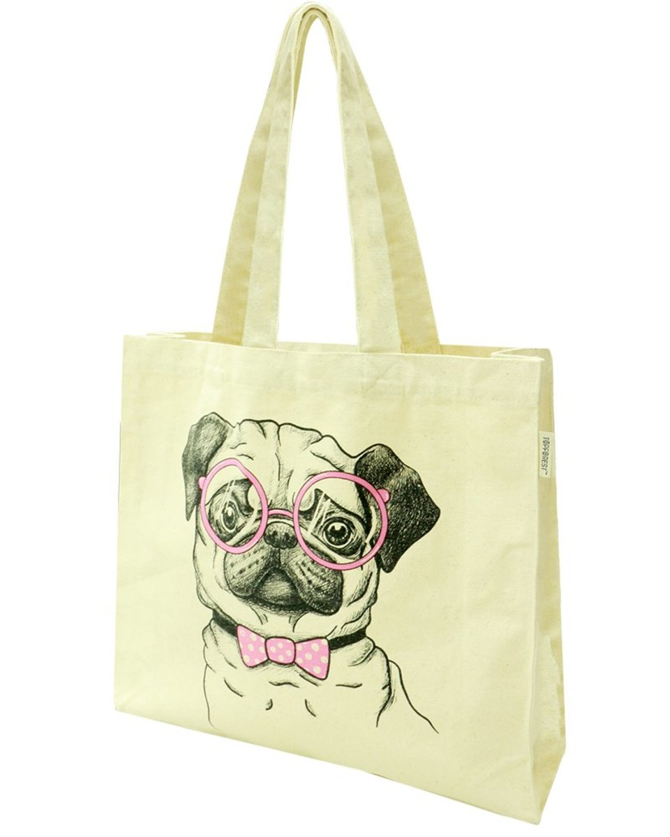 Cute Dog Cotton Canvas Tote Bag Hand Carry B03017