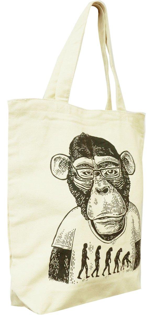 父親節禮物 - 進化猿人拉鏈手提厚帆布袋 B04027