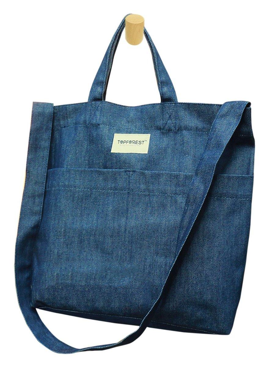 2WAY Dark Blue Denim Tote Bag B05017