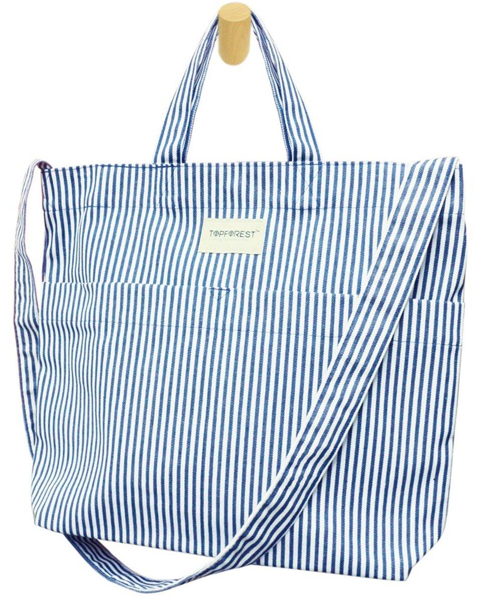 藍白間牛仔布兩用袋 手挽單肩側/斜揹 B05027