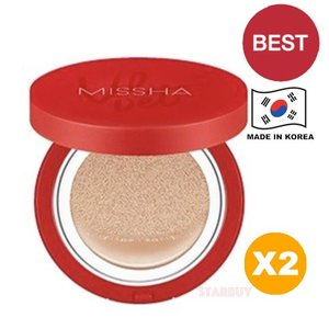 Missha 【2 盒】紅絲絨完美遮瑕氣墊粉餅-15g (SPF50+ PA+++) 23號自然色 Velvet Finish Cushion