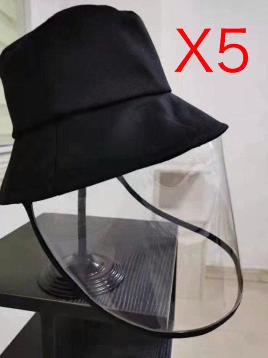 【5 頂】防疫帽 hat 防飛沫防疫漁夫帽防曬帽 (dark black ch)全面防護眼耳口罩