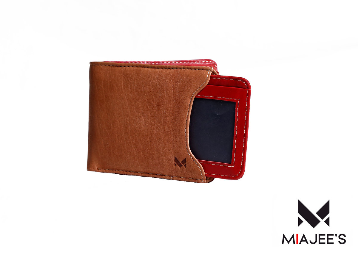 Vulcan - Bifold Wallet with Detachable Card Holder - Special Brown/Red- Genuine Leather Handcrafted