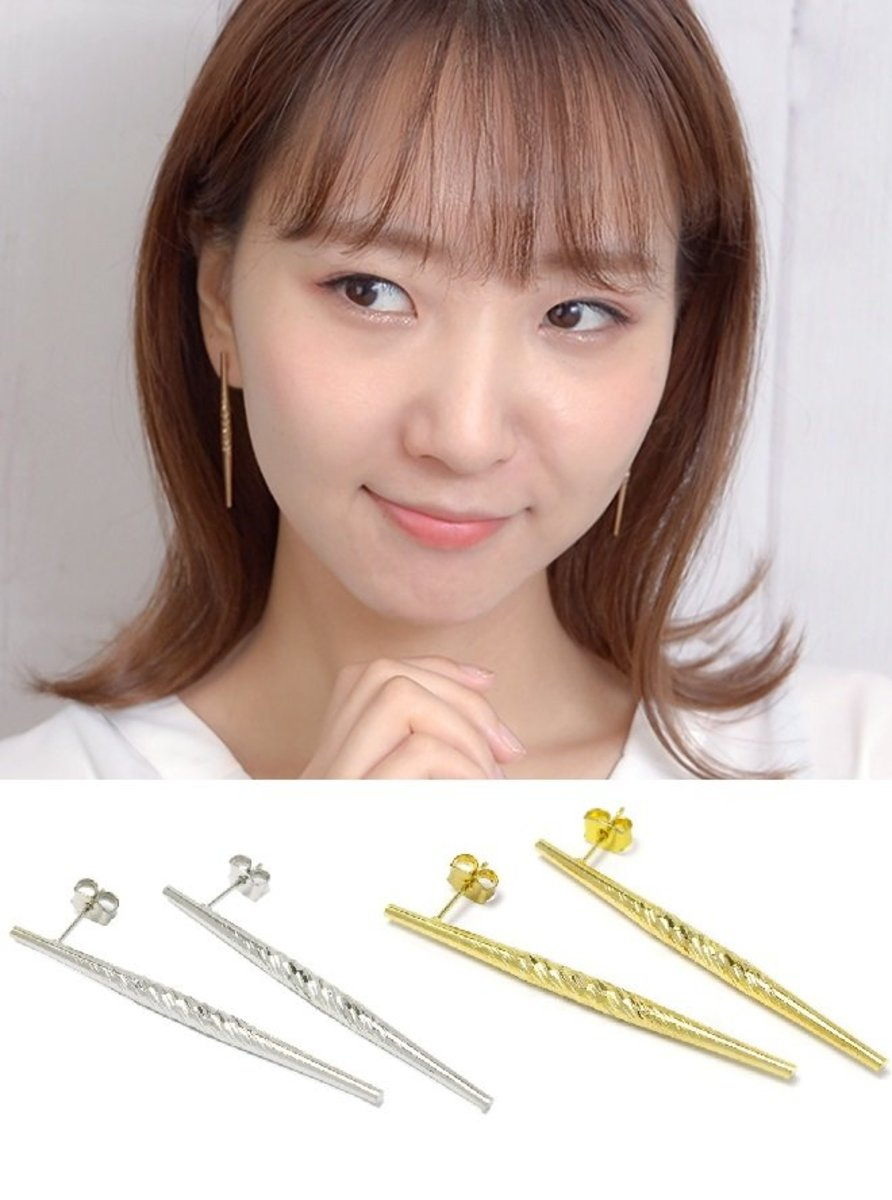 SIGONGAN Pin Stick Pierced Earring Accessory / Accessories 2020 New Style (Silver Color)