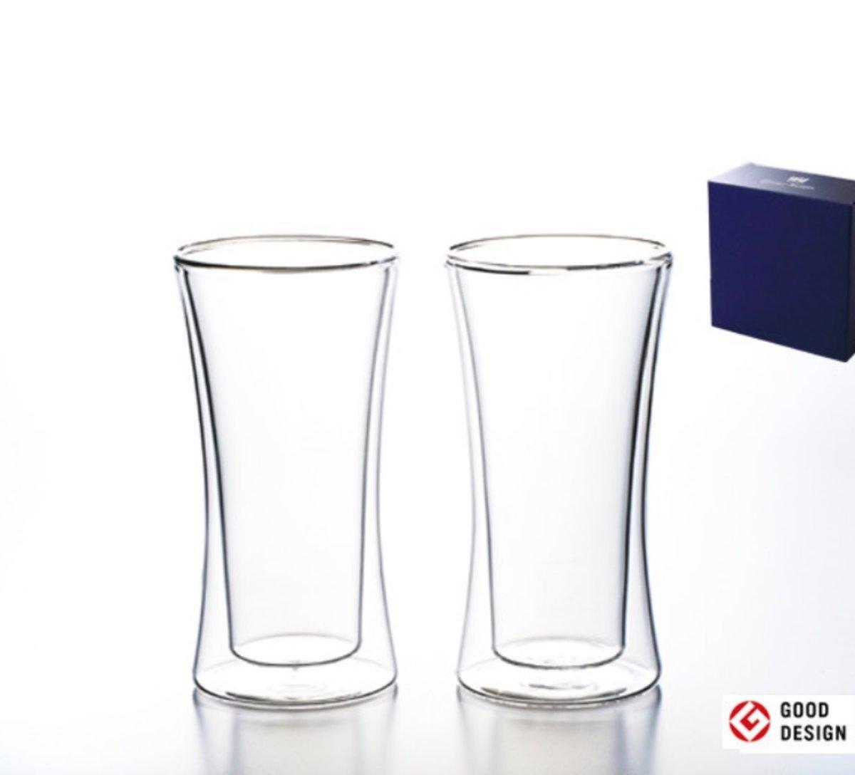 GOOD DESIGN AWARD - Set of 2 pcs - 180 Degree Heat resistant / Double-Layer Glass Gift Set