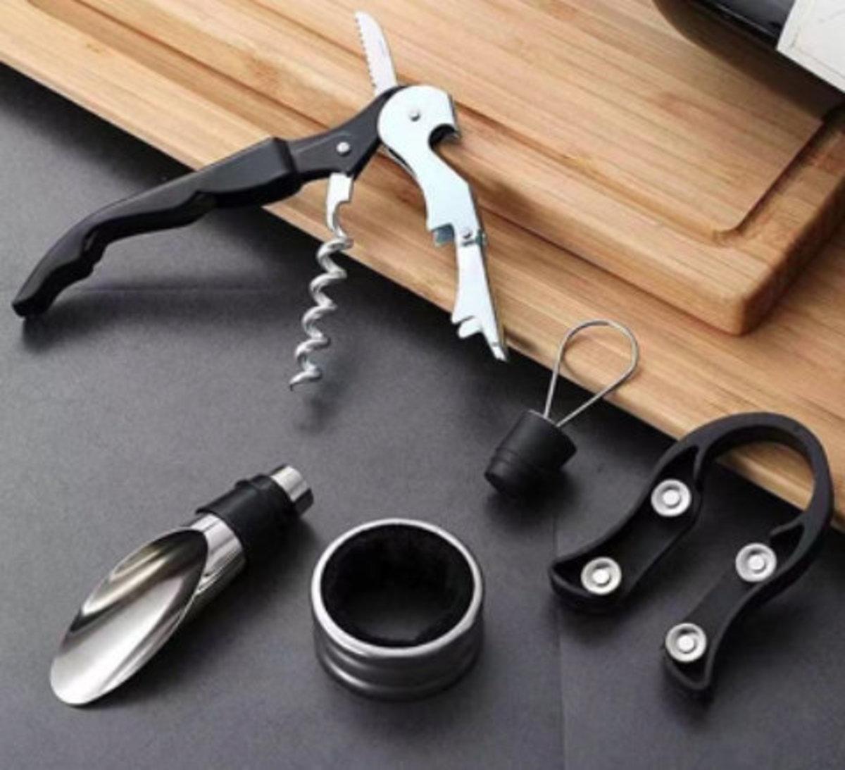 Multifunctional wine bottle opener set