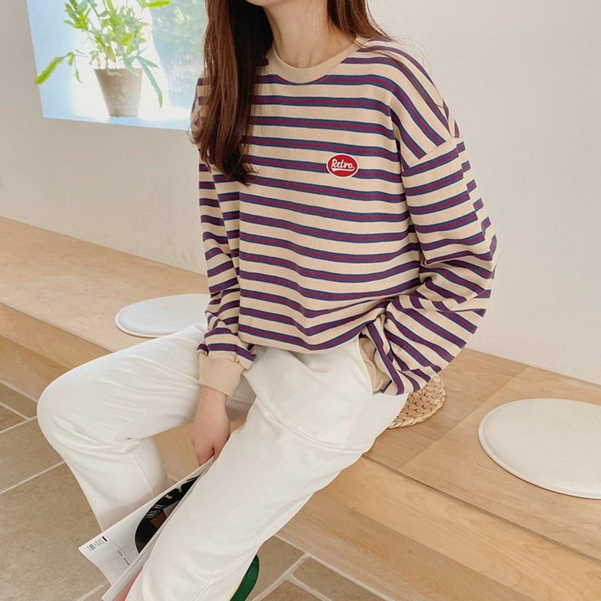 Retro Lettering Detail Striped Sweatshirt