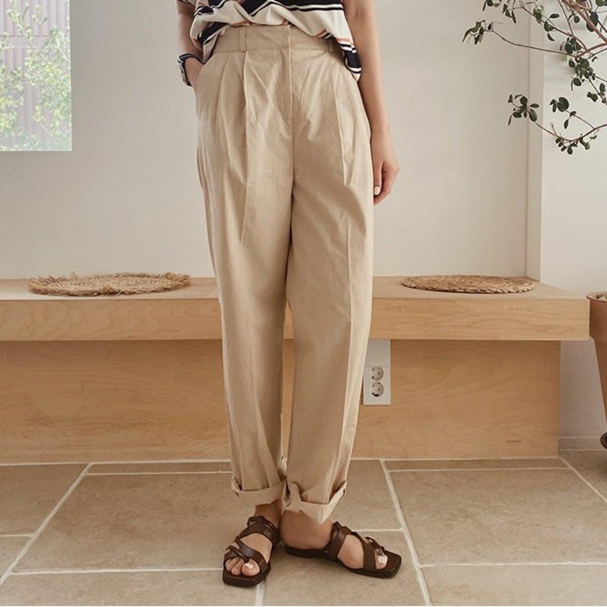 束褶寬鬆棉質直腳褲