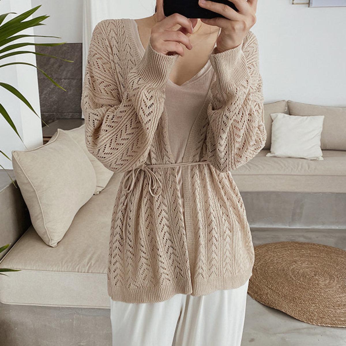 Tie Waist Lace Knit Cardigan