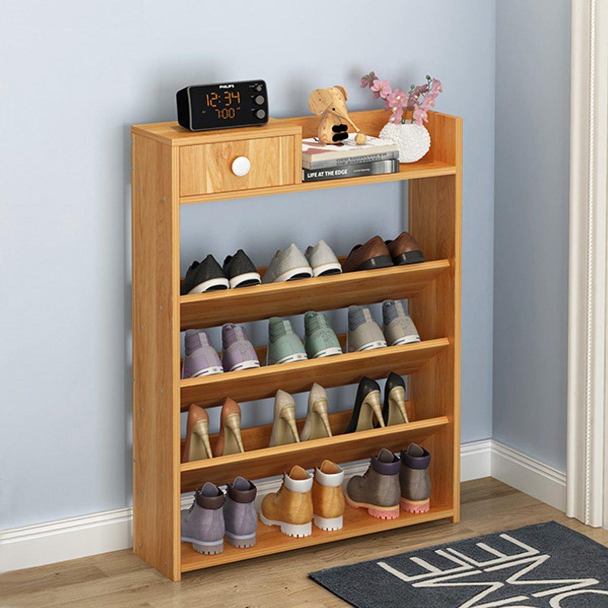 5 Tier Layer Wood Shoe Rack Organizer Storage Shelf With Drawer