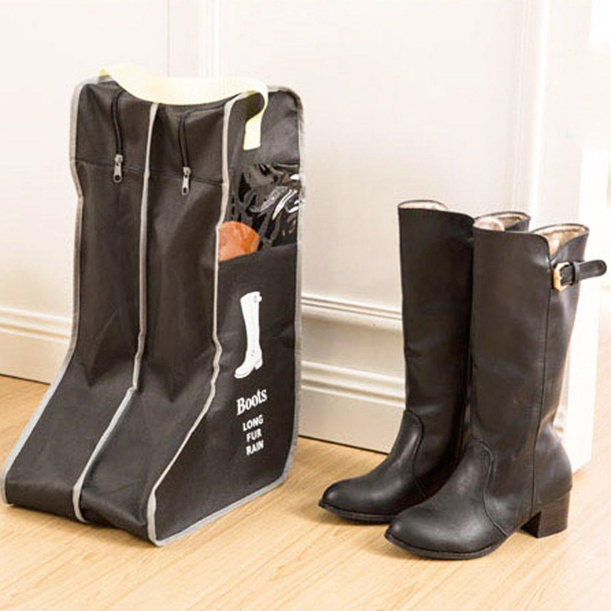 【Black】Boots Shoes Pouch Zipper Bag Portable Waterproof Travel Storage